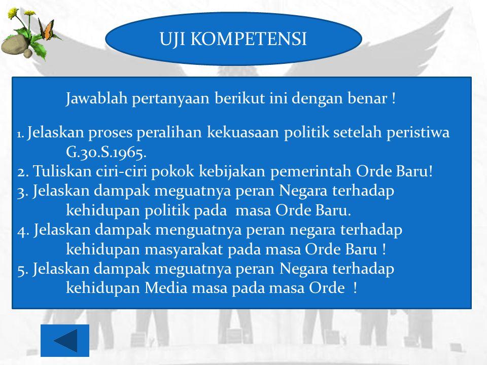 UJI KOMPETENSI Jawablah pertanyaan berikut ini dengan benar ! 1. Jelaskan proses peralihan kekuasaan politik setelah peristiwa G.30.S.1965.