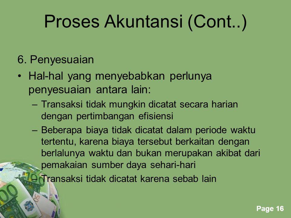 Proses Akuntansi (Cont..)
