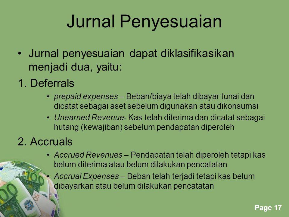 Jurnal Penyesuaian Jurnal penyesuaian dapat diklasifikasikan menjadi dua, yaitu: 1. Deferrals.
