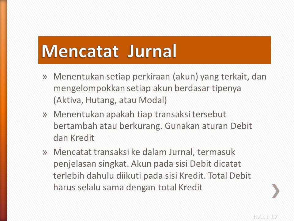 Mencatat Jurnal Menentukan setiap perkiraan (akun) yang terkait, dan mengelompokkan setiap akun berdasar tipenya (Aktiva, Hutang, atau Modal)
