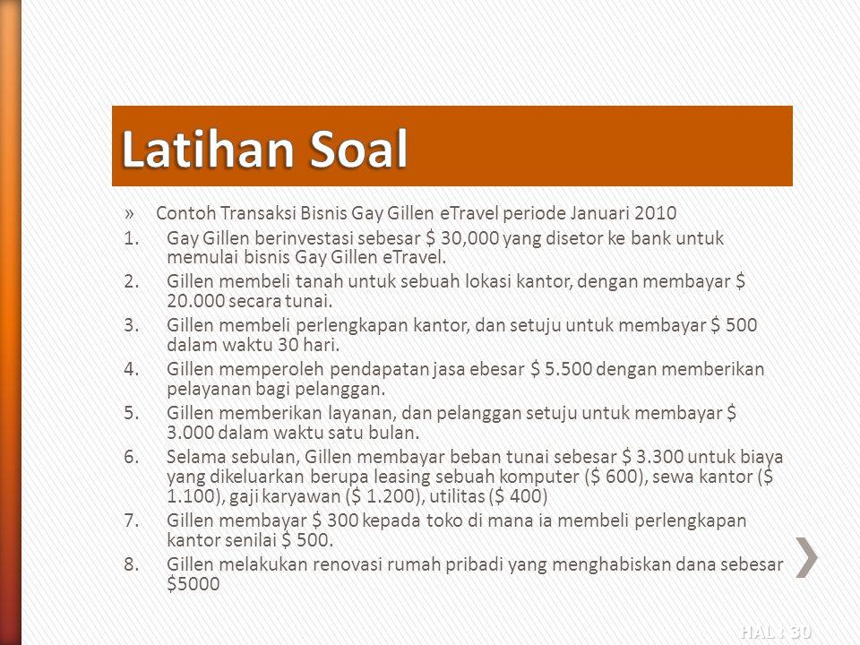 Latihan Soal Contoh Transaksi Bisnis Gay Gillen eTravel periode Januari 2010.