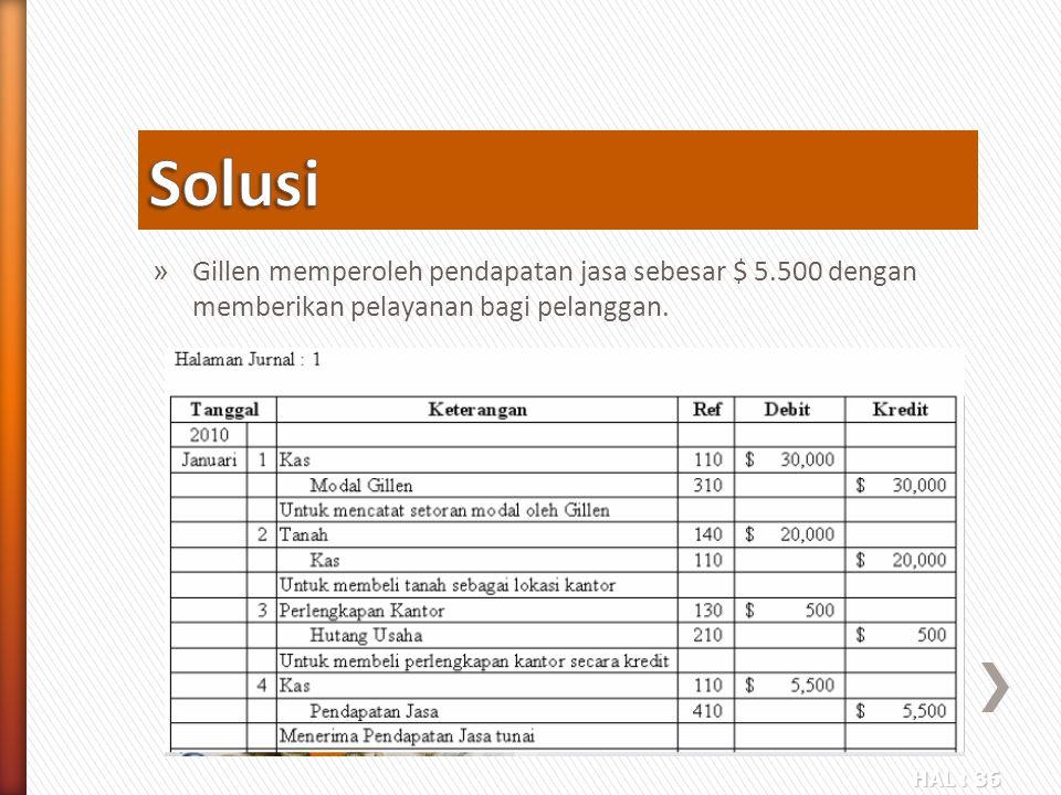 Solusi Gillen memperoleh pendapatan jasa sebesar $ 5.500 dengan memberikan pelayanan bagi pelanggan.