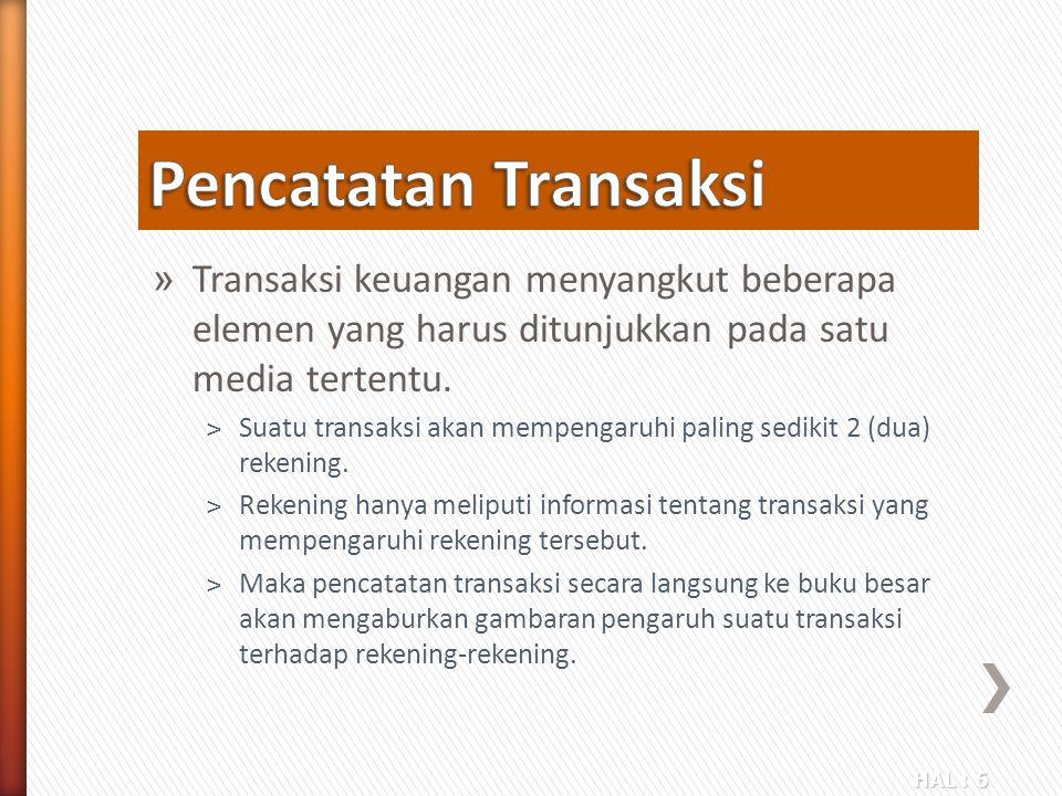 Pencatatan Transaksi Transaksi keuangan menyangkut beberapa elemen yang harus ditunjukkan pada satu media tertentu.