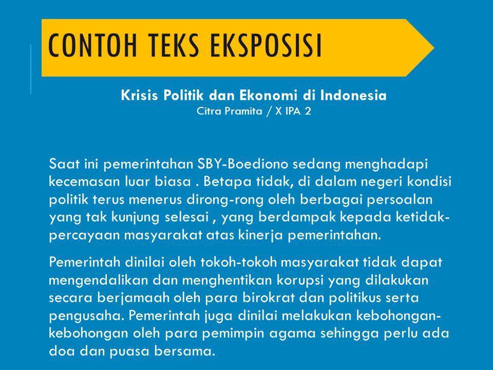 Krisis Politik dan Ekonomi di Indonesia Citra Pramita / X IPA 2