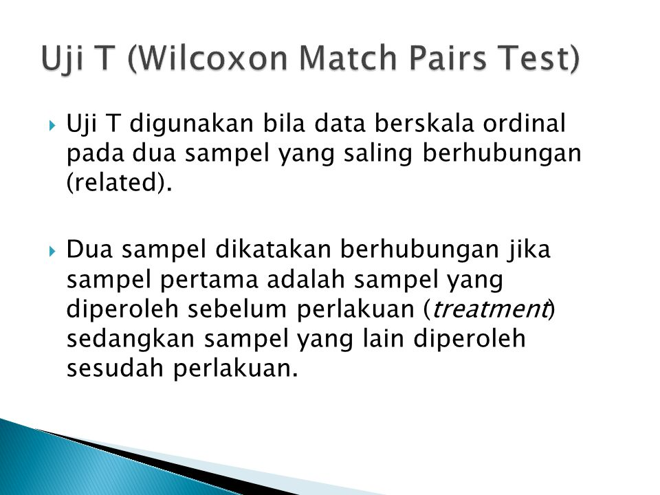 Uji T (Wilcoxon Match Pairs Test)