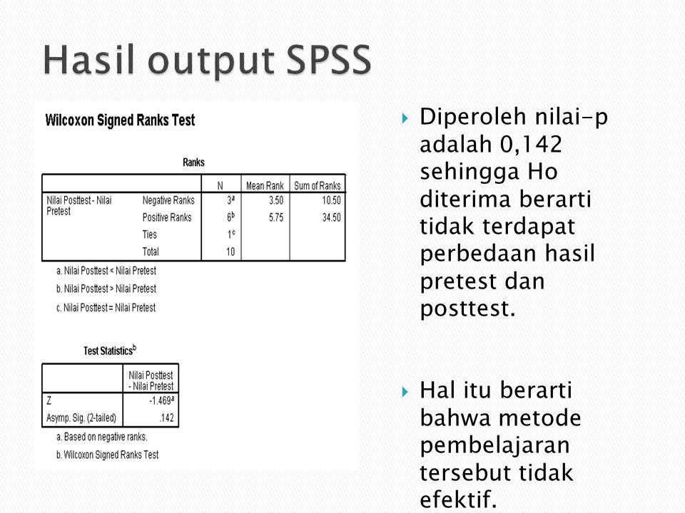 Hasil output SPSS Diperoleh nilai-p adalah 0,142 sehingga Ho diterima berarti tidak terdapat perbedaan hasil pretest dan posttest.
