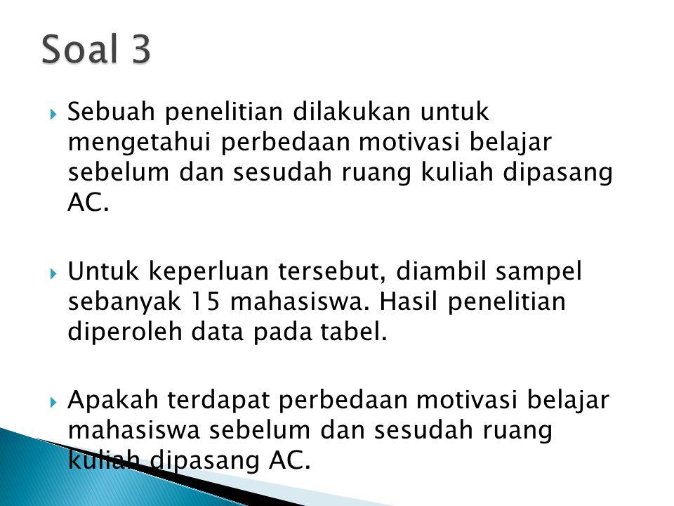 Soal 3 Sebuah penelitian dilakukan untuk mengetahui perbedaan motivasi belajar sebelum dan sesudah ruang kuliah dipasang AC.