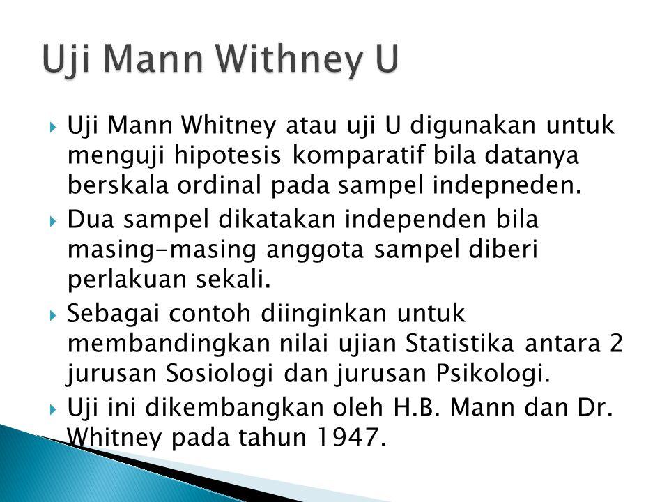 Uji Mann Withney U Uji Mann Whitney atau uji U digunakan untuk menguji hipotesis komparatif bila datanya berskala ordinal pada sampel indepneden.