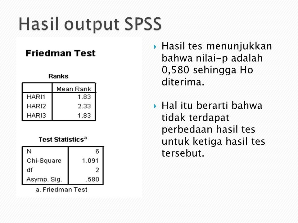 Hasil output SPSS Hasil tes menunjukkan bahwa nilai-p adalah 0,580 sehingga Ho diterima.