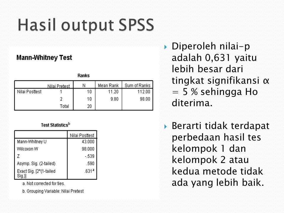 Hasil output SPSS Diperoleh nilai-p adalah 0,631 yaitu lebih besar dari tingkat signifikansi α = 5 % sehingga Ho diterima.