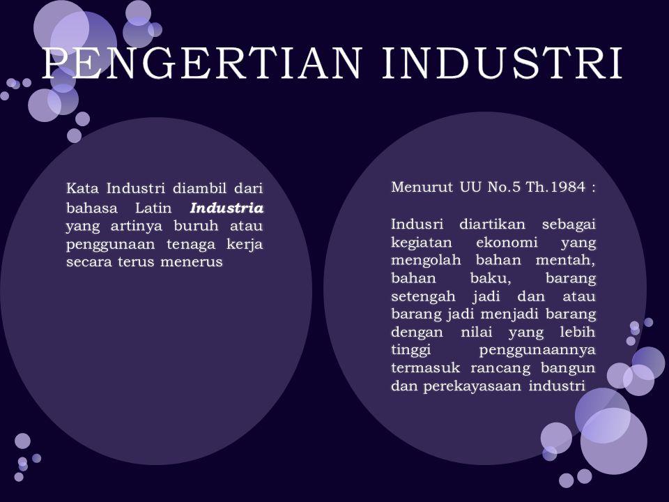 PENGERTIAN INDUSTRI Menurut UU No.5 Th.1984 :