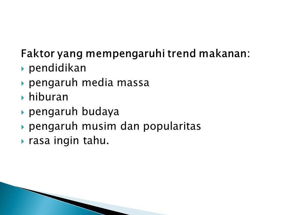 Faktor yang mempengaruhi trend makanan: