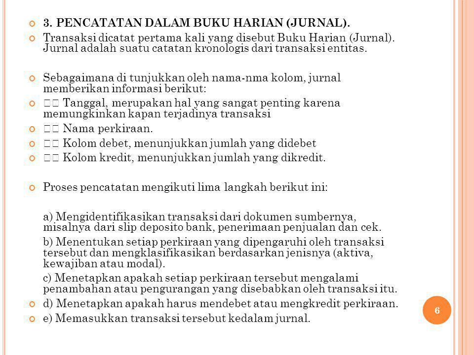 3. PENCATATAN DALAM BUKU HARIAN (JURNAL).