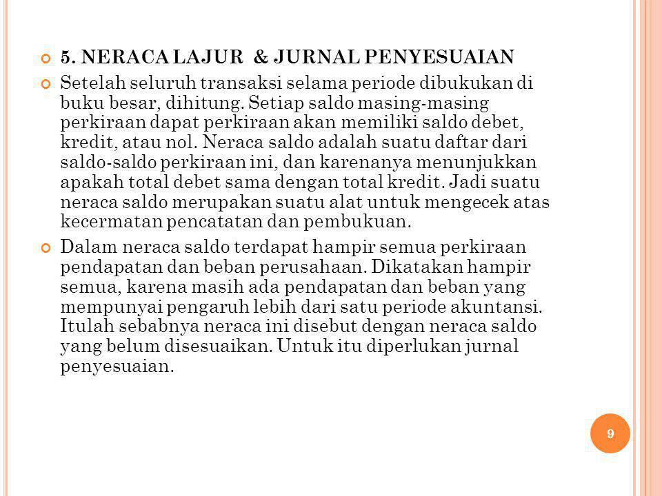 5. NERACA LAJUR & JURNAL PENYESUAIAN