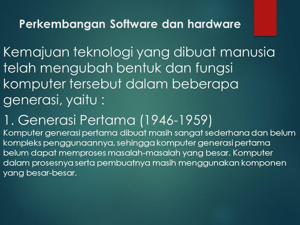 Perkembangan Software dan hardware