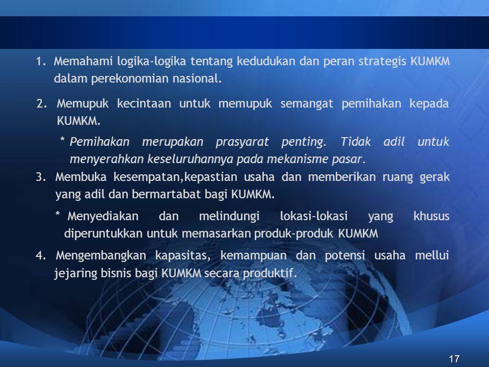1. Memahami logika-logika tentang kedudukan dan peran strategis KUMKM dalam perekonomian nasional.