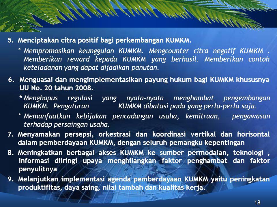 5. Menciptakan citra positif bagi perkembangan KUMKM.