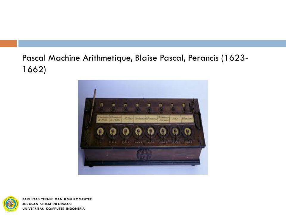 Pascal Machine Arithmetique, Blaise Pascal, Perancis (1623- 1662)