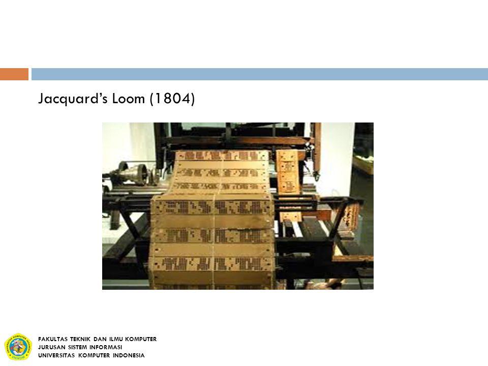 Jacquard's Loom (1804) FAKULTAS TEKNIK DAN ILMU KOMPUTER
