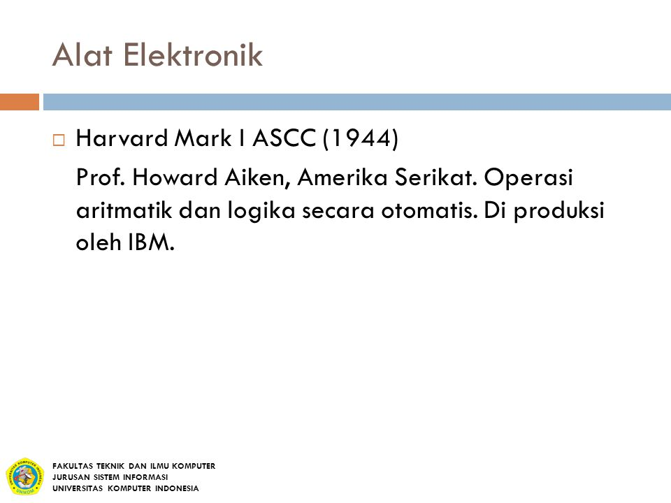 Alat Elektronik Harvard Mark I ASCC (1944)
