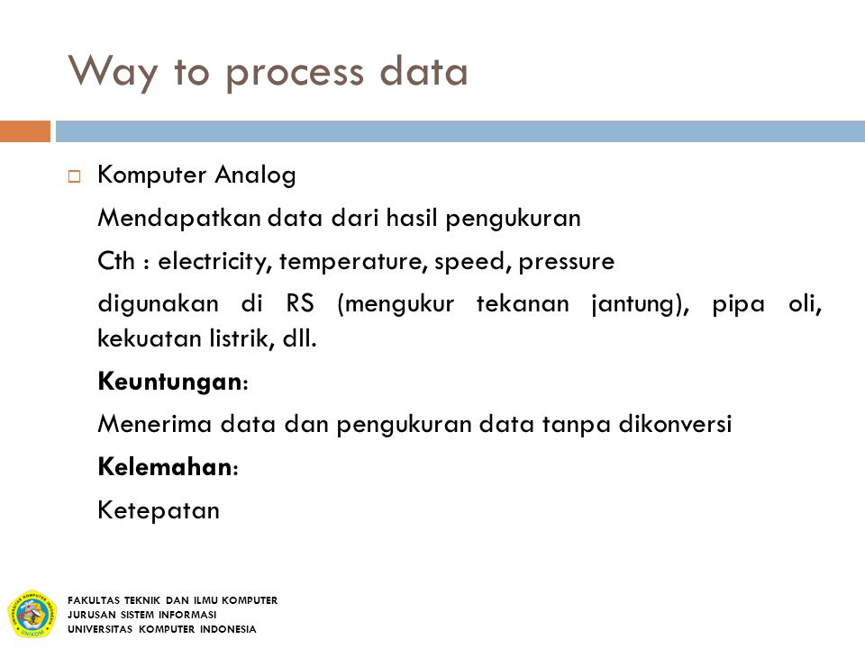 Way to process data Komputer Analog