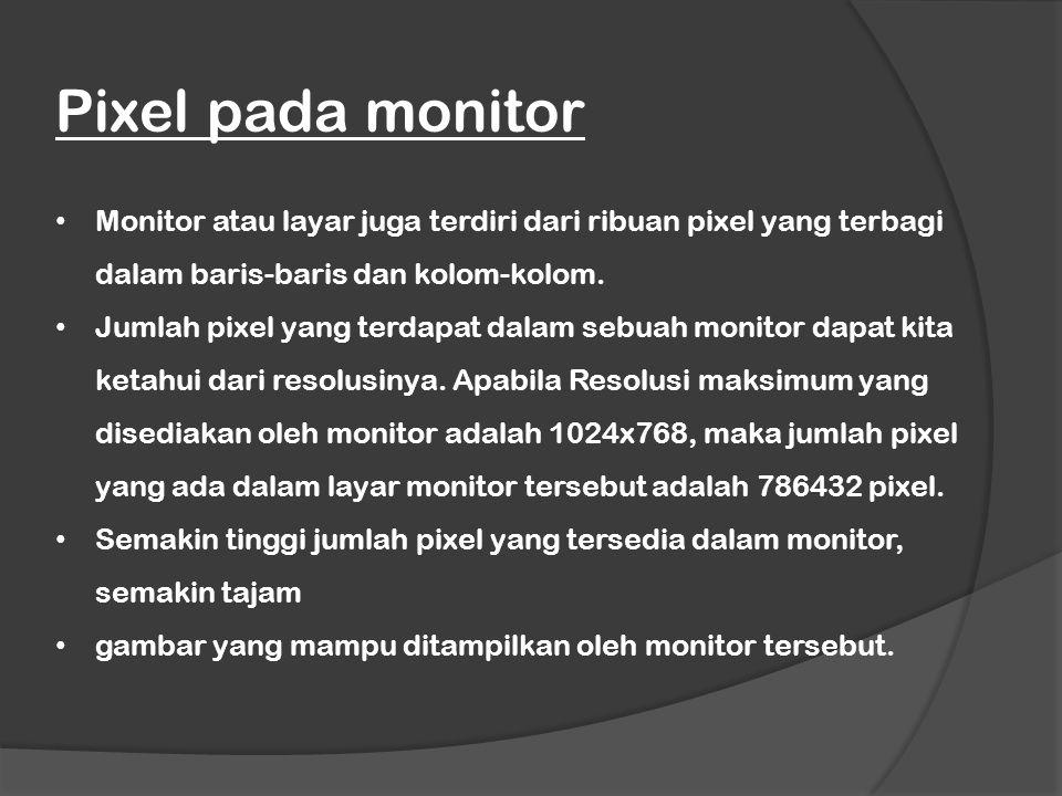 Pixel pada monitor Monitor atau layar juga terdiri dari ribuan pixel yang terbagi dalam baris-baris dan kolom-kolom.