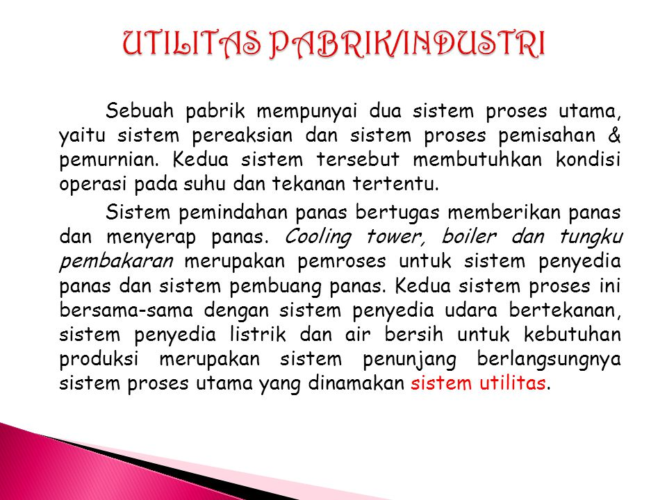 UTILITAS PABRIK/INDUSTRI