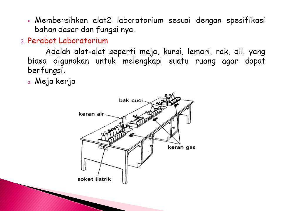 Membersihkan alat2 laboratorium sesuai dengan spesifikasi bahan dasar dan fungsi nya.