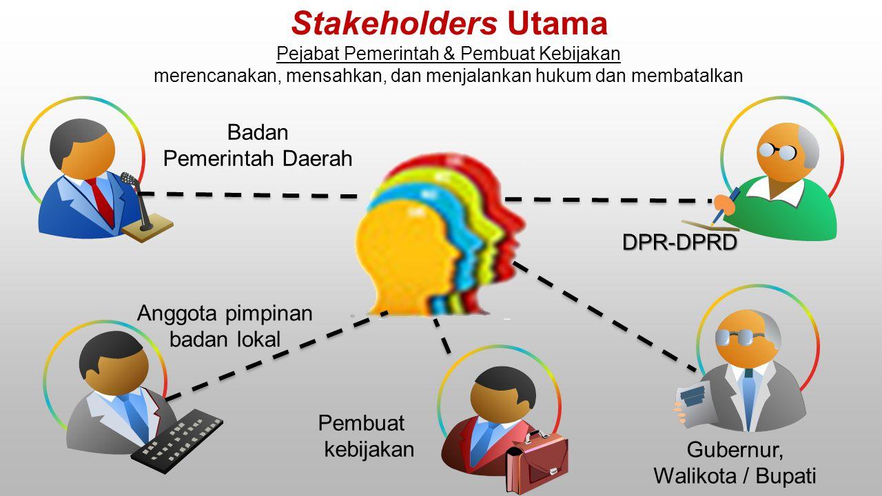 Stakeholders Utama Badan Pemerintah Daerah DPR-DPRD Anggota pimpinan