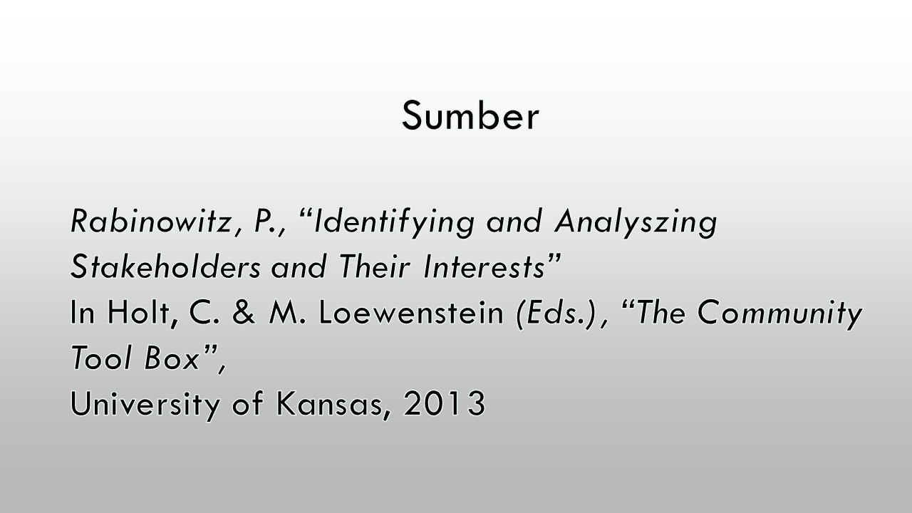 Sumber Rabinowitz, P., Identifying and Analyszing Stakeholders and Their Interests In Holt, C. & M. Loewenstein (Eds.), The Community Tool Box ,