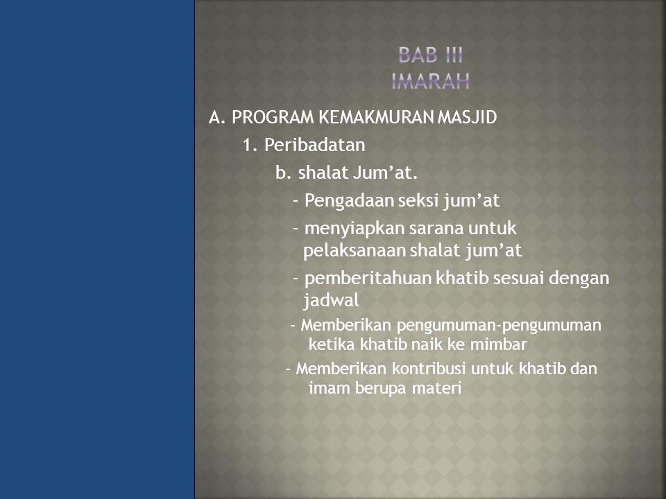 BAB III IMARAH A. PROGRAM KEMAKMURAN MASJID 1. Peribadatan
