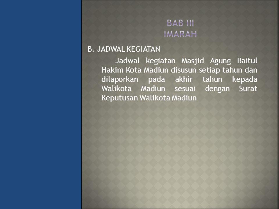BAB III IMARAH B. JADWAL KEGIATAN