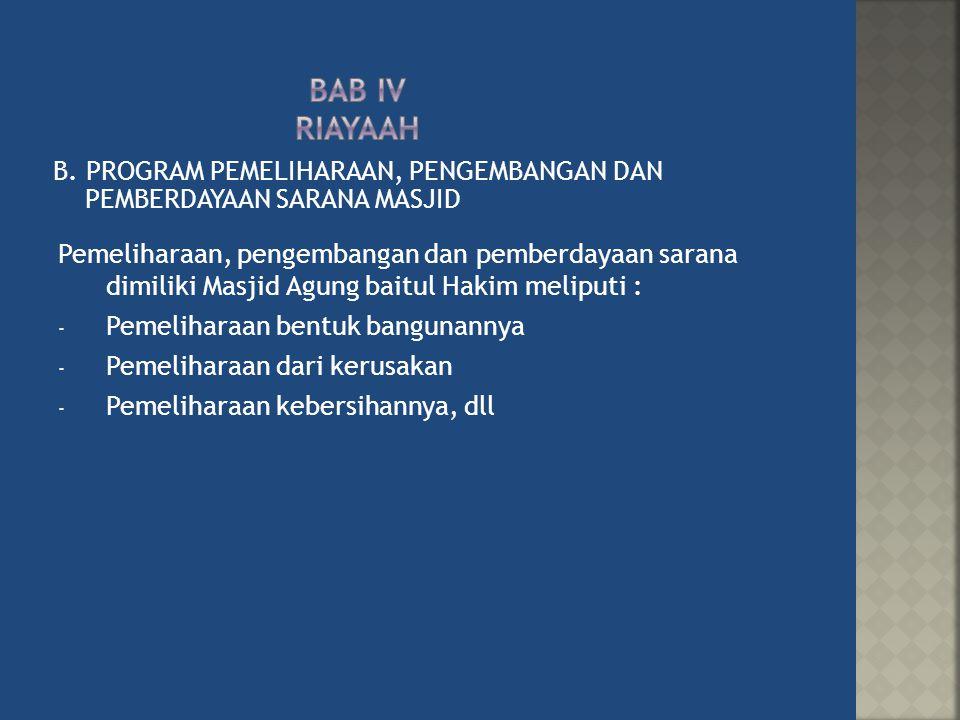 BAB Iv RiayaAH B. PROGRAM PEMELIHARAAN, PENGEMBANGAN DAN