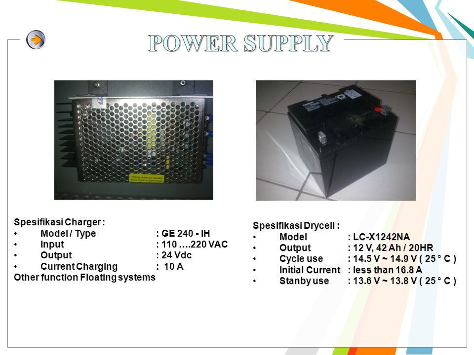 POWER SUPPLY Spesifikasi Charger : Spesifikasi Drycell :