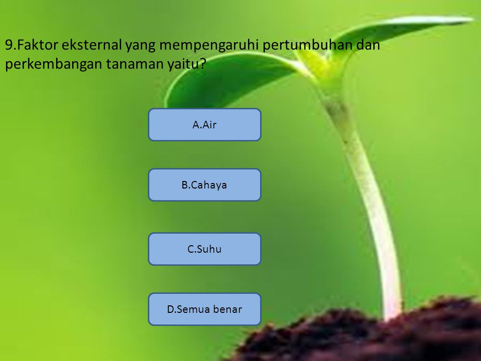 9.Faktor eksternal yang mempengaruhi pertumbuhan dan perkembangan tanaman yaitu