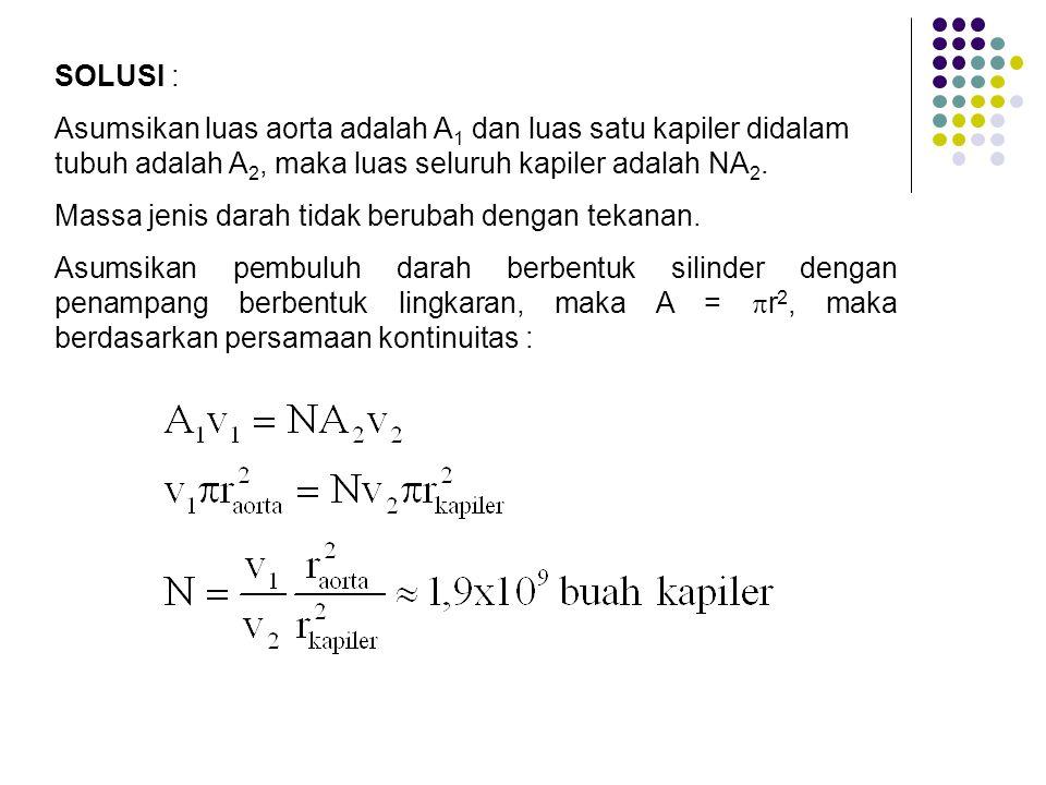 SOLUSI : Asumsikan luas aorta adalah A1 dan luas satu kapiler didalam tubuh adalah A2, maka luas seluruh kapiler adalah NA2.