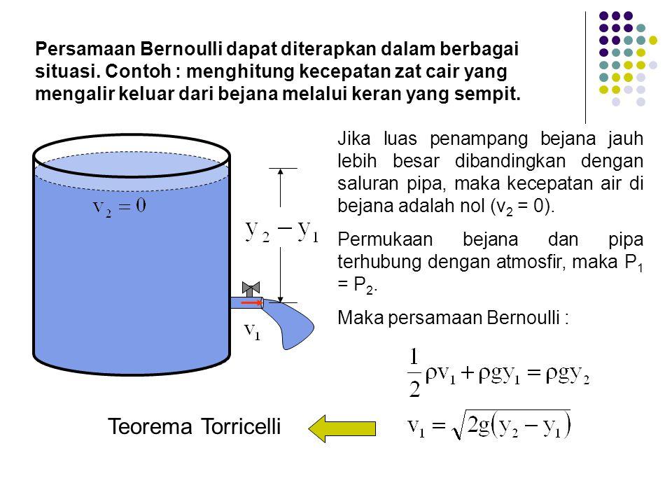 Persamaan Bernoulli dapat diterapkan dalam berbagai situasi