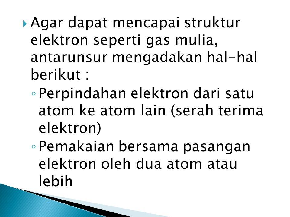 Agar dapat mencapai struktur elektron seperti gas mulia, antarunsur mengadakan hal-hal berikut :