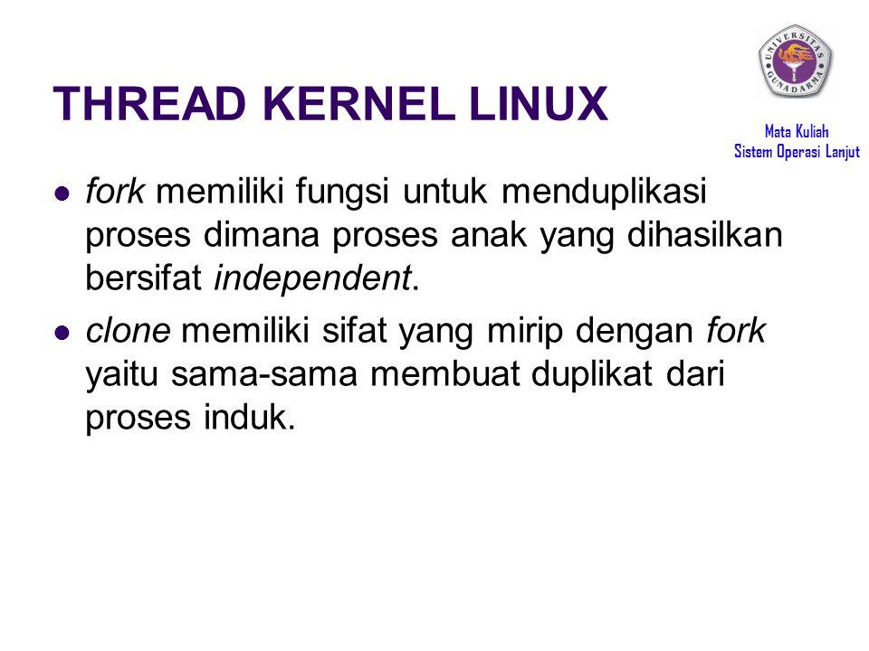 THREAD KERNEL LINUX fork memiliki fungsi untuk menduplikasi proses dimana proses anak yang dihasilkan bersifat independent.