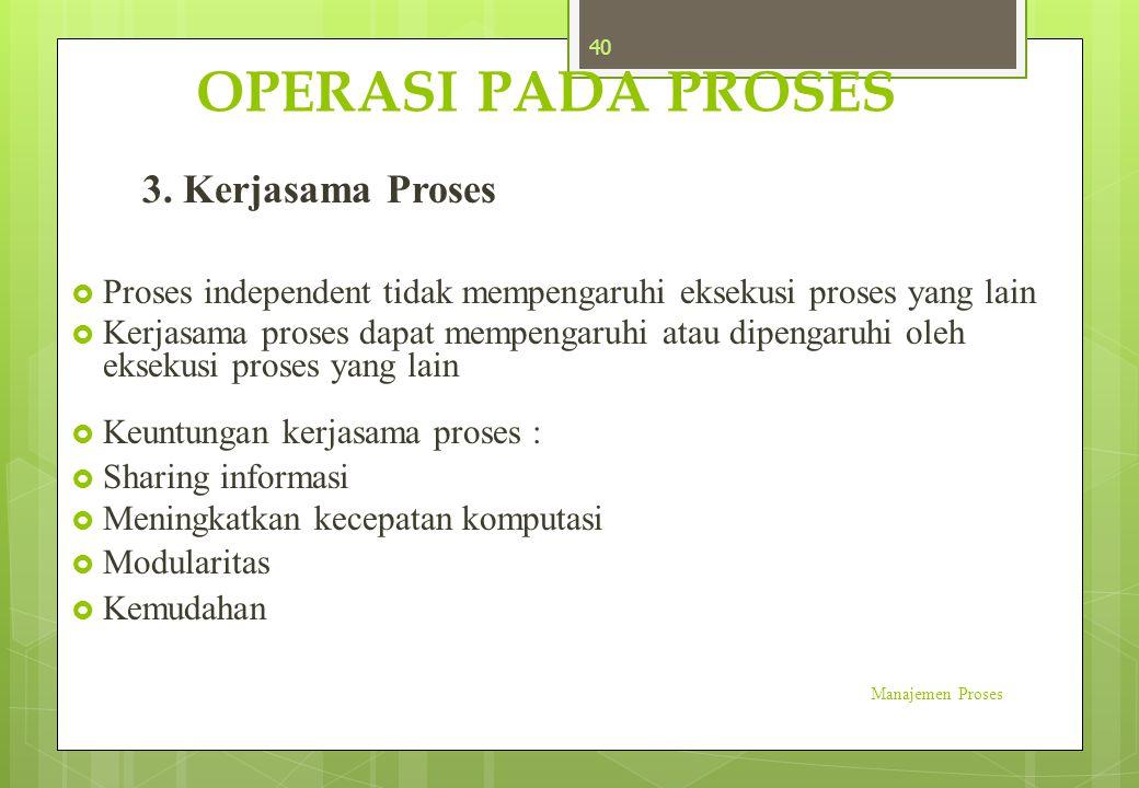 OPERASI PADA PROSES 3. Kerjasama Proses