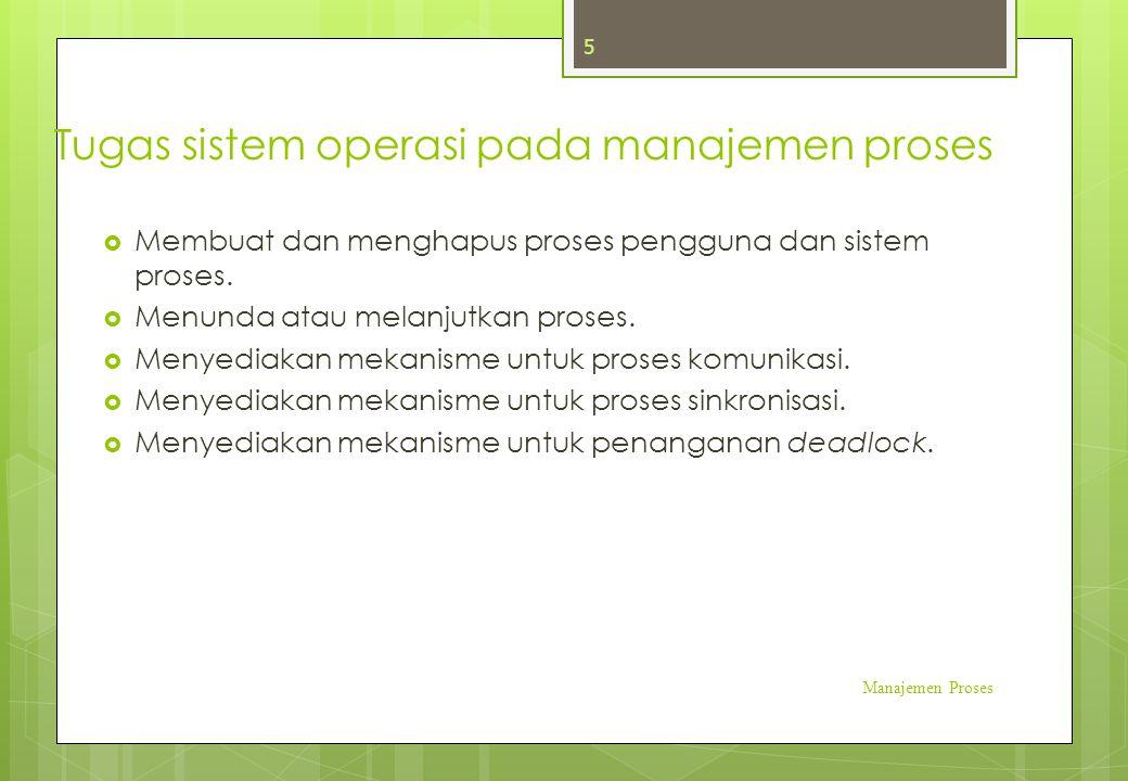 Tugas sistem operasi pada manajemen proses