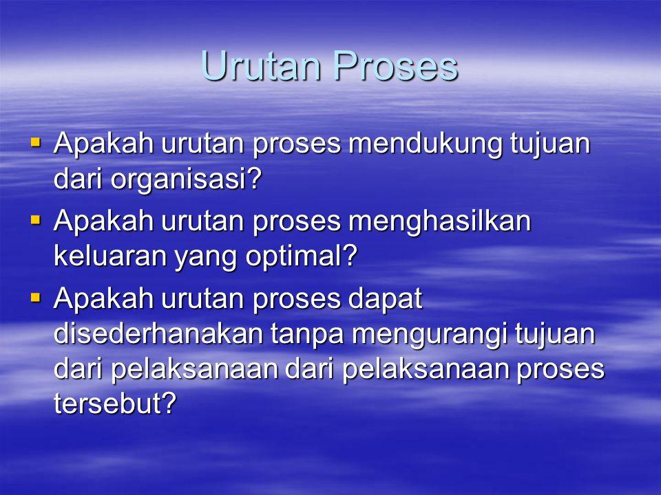 Urutan Proses Apakah urutan proses mendukung tujuan dari organisasi