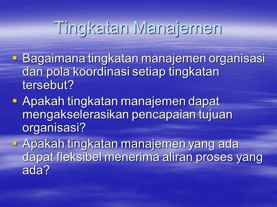 Tingkatan Manajemen Bagaimana tingkatan manajemen organisasi dan pola koordinasi setiap tingkatan tersebut