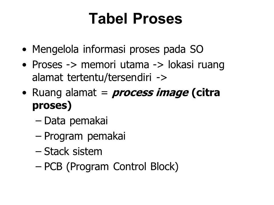 Tabel Proses Mengelola informasi proses pada SO