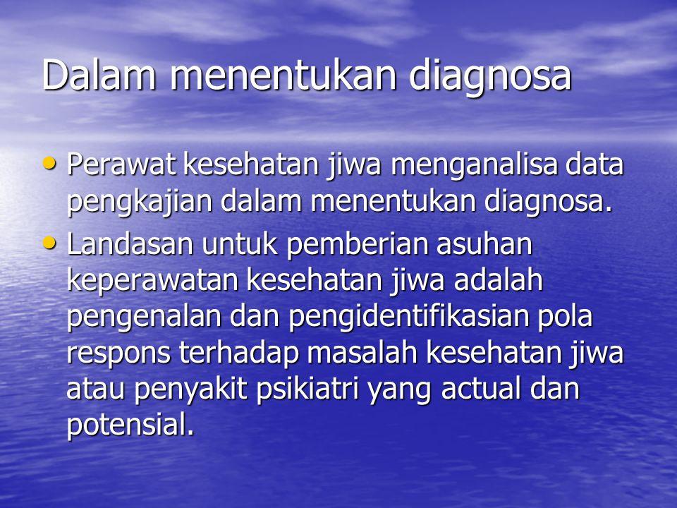 Dalam menentukan diagnosa