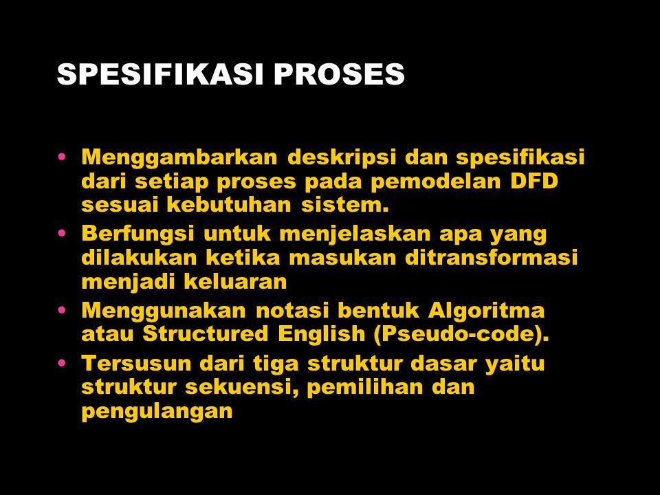 SPESIFIKASI PROSES Menggambarkan deskripsi dan spesifikasi dari setiap proses pada pemodelan DFD sesuai kebutuhan sistem.