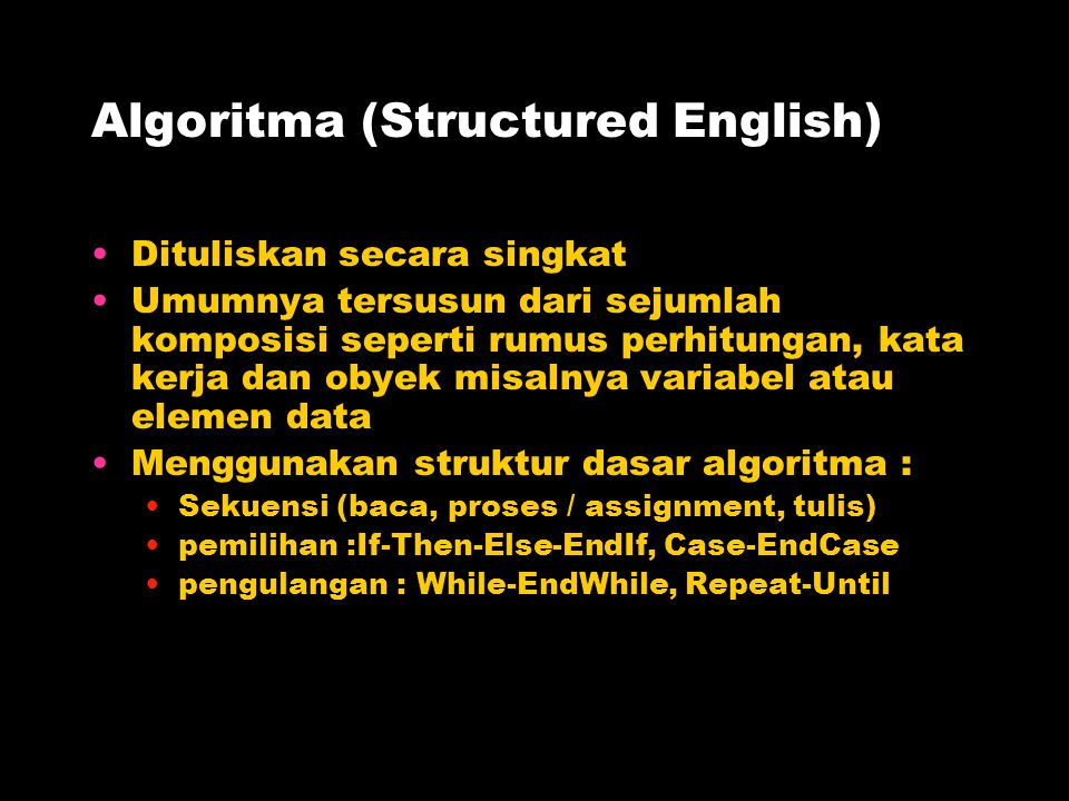 Algoritma (Structured English)