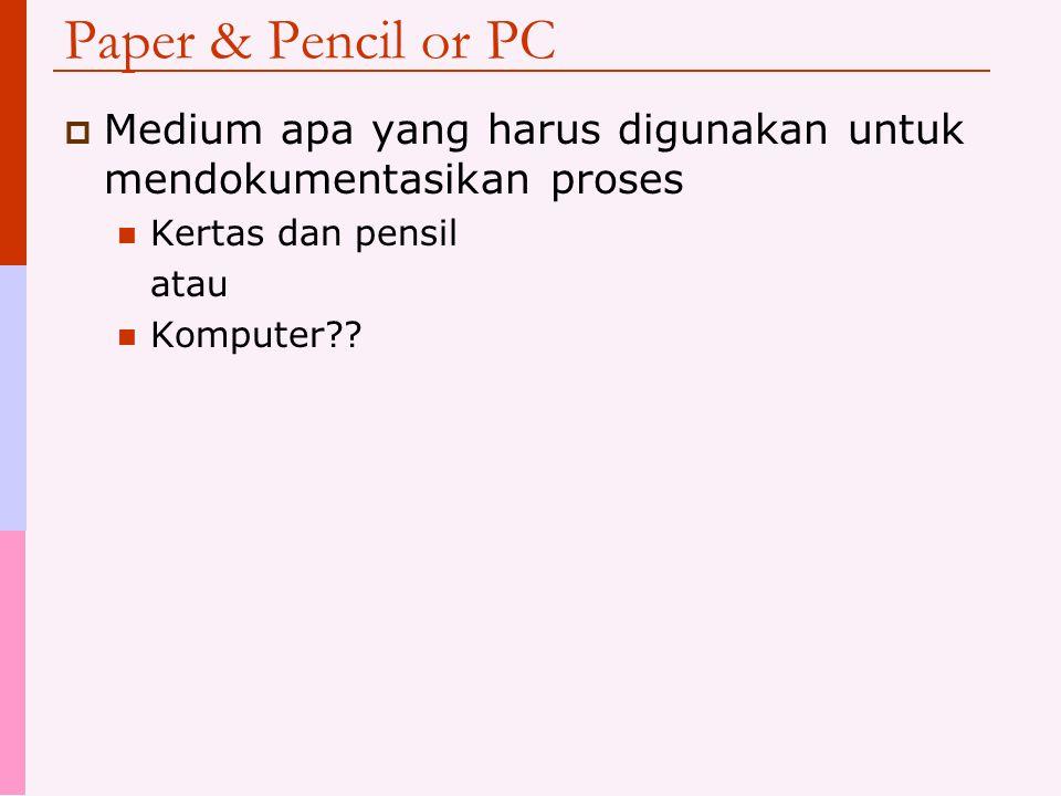 Paper & Pencil or PC Medium apa yang harus digunakan untuk mendokumentasikan proses. Kertas dan pensil.