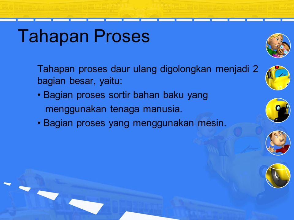 Tahapan Proses Tahapan proses daur ulang digolongkan menjadi 2 bagian besar, yaitu: Bagian proses sortir bahan baku yang.