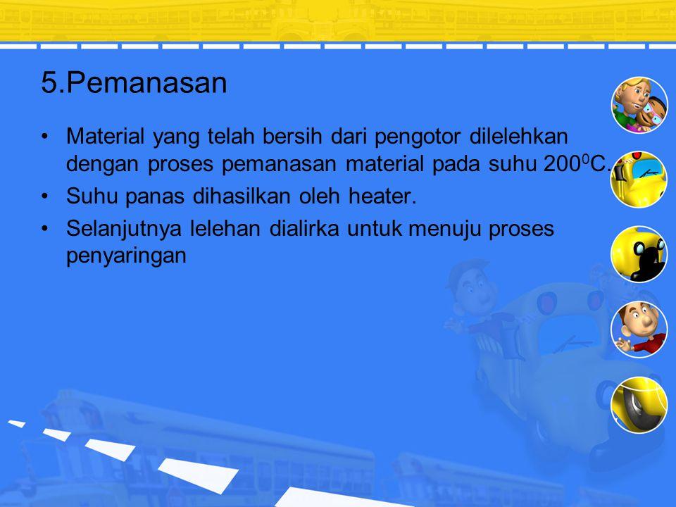 5.Pemanasan Material yang telah bersih dari pengotor dilelehkan dengan proses pemanasan material pada suhu 2000C.